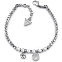 Guess Rhodium Plated Bead Bracelet With White Swarovski® Pearls, Swarovski® Crystal Charm And Logo Coin Charm.