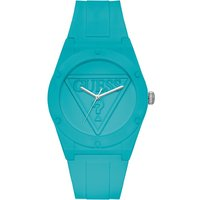 'Guess Retro Pop Turquoise Silicone Watch With Turquoise Logo Dial.