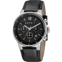 Esprit Equalizer Mens Watch featuring a Black Leather Strap and Black Dial