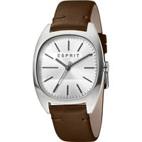 Esprit Infinity Mens Watch featuring a Dark Brown Leather Strap and Silver Dial