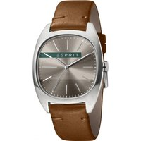 Esprit Infinity Mens Watch featuring a Dark Brown Leather Strap and Dark Grey Dial