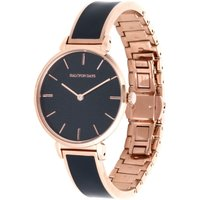 Maya Navy and Rose Gold Plain Bangle Watch