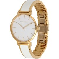 Maya Cream and Gold Plain Bangle Watch