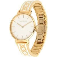 Curb Chain Cream and Gold Bangle Watch