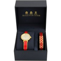 Agama Red and Gold Watch and 1cm Bangle Gift Set