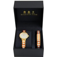 Agama Orange, Cream and Gold Watch and 1cm Bangle Gift Set