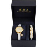 Agama Pearl Cream and Gold Watch and Bangle Gift Set