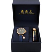 Agama Pearl Navy and Rose Gold Watch and Bangle Gift Set