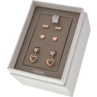 Ladies Fossil Jewellery Rose Gold Earrings Gift Set
