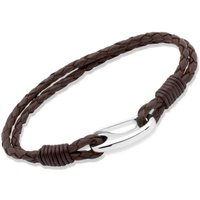 Ladies Unique and Co Stainless Steel Brown Leather Bracelet 19cm