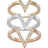 Ladies Swarovski Two-tone steel/gold plate Size O Delta Ring 55