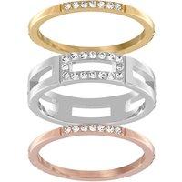 Ladies Swarovski Two-tone steel/gold plate Size K Cubist Ring 50