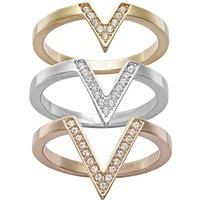 Ladies Swarovski Two-tone steel/gold plate Size Q Delta Ring 58