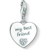 Ladies Thomas Sabo Sterling Silver Charm Club Anniversary My Best Friend Diamond Charm Pendant