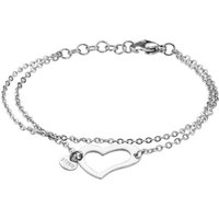Ladies STORM PVD Silver Plated Heart Bracelet