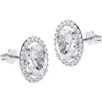 Ladies Essentials 9ct White Gold Cubic Zirconia Oval Stud Earrings