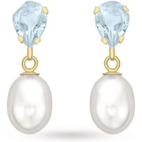 Ladies Essentials 9ct Gold Blue Topaz and Pearl Earrings