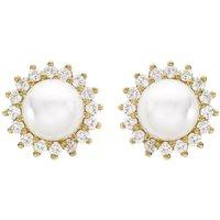Ladies Essentials 9ct Gold Pearl and Cubic Zirconia Stud Earrings
