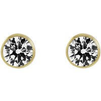 Ladies Essentials 9ct Gold 5mm Cubic Zirconia Rubover Stud Earrings