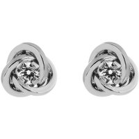 Image of Ladies Essentials 9ct White Gold Cubic Zirconia Knot Earrings