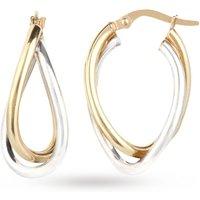 Ladies Essentials 9ct Gold Double Twist Hoop Earrings