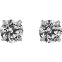 Ladies Essentials 9ct White Gold 4mm Cubic Zirconia Stud Earrings