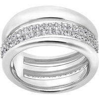 Ladies Swarovski Rhodium Plated Size O Exact Ring 55