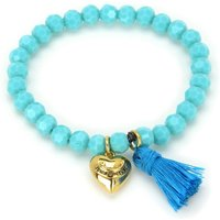 Image of Ladies Juicy Couture PVD Gold plated Heart & Tassel Beaded Bracelet