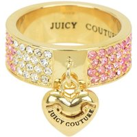 Ladies Juicy Couture PVD Gold plated Size L.5 Iconic Gradient Pave Heart Ring