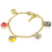 Ladies Juicy Couture Gold Plated Enamel Heart Charm Bracelet