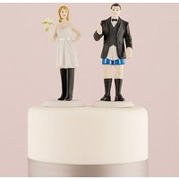 Bride In Charge and Groom Not In Charge Cake Toppers - Bride in Charge Wearing the Pants Figurine
