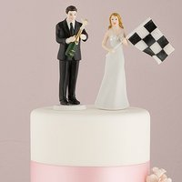 Bride at Finish Line with Victorious Groom Figurine - Victorious Groom with Champagne Bottle Figurine