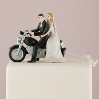 Motorcycle Get-away Wedding Couple Figurine - Medium Skin Tone