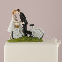 \A Kiss Above\ Bicycle Bride and Groom Couple Figurine