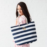 Personalised Extra-Large Cabana Stripe Canvas Fabric Tote Bag - Navy