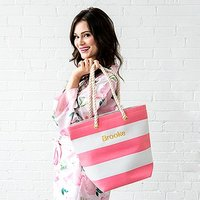 Personalised Large Bliss Striped Cotton Canvas Fabric Tote Bag- Pink and White