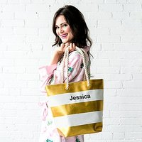 Personalised Large Bliss Striped Cotton Canvas Fabric Tote Bag- Gold and White
