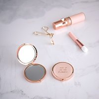 Personalised Engraved Faux Leather Compact Mirror - #Flawless - Silver White