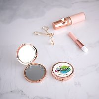 Personalised Engraved Bridal Party Pocket Compact Mirror - Mwah - Gold