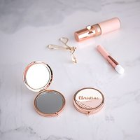 Personalised Engraved Bridal Party Pocket Compact Mirror - Retro Luxe Blush - Rose Gold