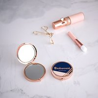 Personalised Engraved Bridal Party Pocket Compact Mirror - Retro Luxe Navy - Rose Gold
