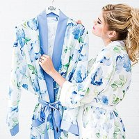 Women's Personalised Embroidered Floral Satin Robe with Pockets - Blue - Small / Medium