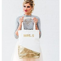 Large Personalised Gold & White Cotton Canvas Fabric Tote Bag