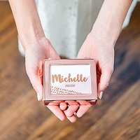 Small Personalised Modern Metal Jewellery Box - Retro Luxe Foil Print - Gold