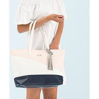 Large Personalised Colour Block Faux Leather Tote Bag- Navy Blue, Blush Pink & White