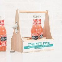 "Personalised Wooden Bottle Caddy with Opener - ""25 Years of Awesome"""