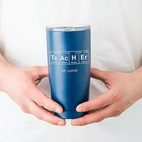 Personalised Stainless Steel Insulated Travel Mug - Periodic Table Teacher Print