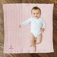 Personalised Cotton Cable Knit Baby Blanket - Monogram - White