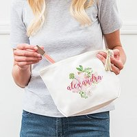 Large Personalised Canvas Makeup And Toiletry Bag For Women - Floral Garden Party - Plus Silver