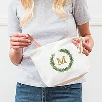 Large Personalised Canvas Makeup And Toiletry Bag For Women - Love Wreath Monogram - Plus Silver